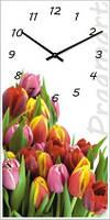 """Большие настенные часы """"Букет тюльпанов"""" (250х500мм) [Стекло, Открытые]"""