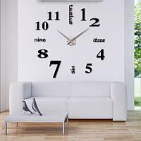 3D-Часы настенные большие с надписями (диаметр 1 м) черные  [Пластик]
