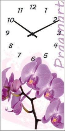 """Большие настенные часы """"Сиреневая орхидея"""" (250х500мм) [Стекло, Открытые]"""