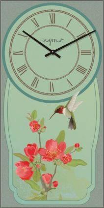 """Часы настенные большие """"Колибри и цветы"""" (250х500мм) [Стекло, Открытые]"""