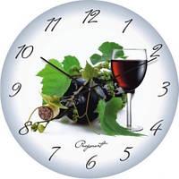 """Кухонные настенные часы """"Винный натюрморт"""" (500мм) [Стекло, Открытые]"""
