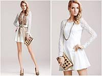 Распродажа остатков. Брендовое Белое платье Moonbasa с длинными гипюровыми рукавами OB90087