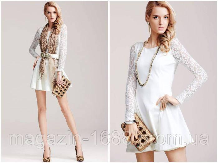 767d36773a6 Распродажа остатков. Брендовое Белое платье Moonbasa с длинными гипюровыми  рукавами OB90087 - 1688.com
