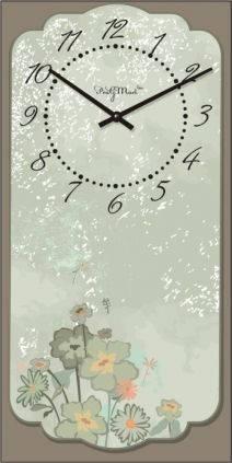 """Часы настенные большие """"Прованс - Цветы полевые"""" (250х500мм) [Стекло, Открытые]"""