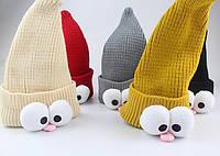 Шапочка Гномик, шапка демисезонная, шерстяная, трикотажная, унисекс р. 40-50, цвета в ассортименте
