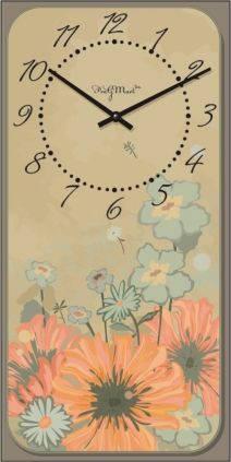 """Часы настенные большие """"Прованс - Цветы"""" (250х500мм) [Стекло, Открытые]"""