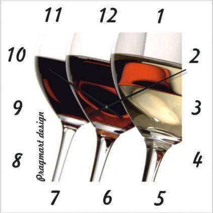 """Кухонные настенные часы """"Белое, розовое, красное вино"""" (500мм) [Стекло, Открытые]"""
