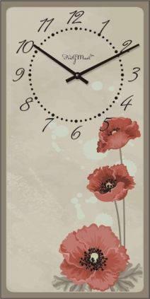 """Часы настенные большие """"Прованс - Маки"""" (250х500мм) [Стекло, Открытые]"""