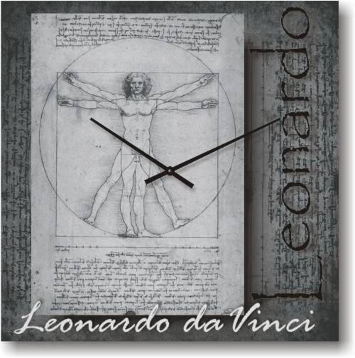 """Часы настенные большого размера """"Золотое сечение - Леонардо Да Винчи"""" (500мм) [Стекло, Открытые]"""