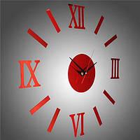 Часы интерьерные настенные с римскими цифрами (диаметр 0,35 - 0,5 м) красные [Пластик]