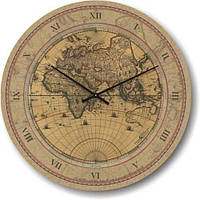 """Часы настенные """"Карта мира старая"""" (350мм) [Стекло, Открытые]"""