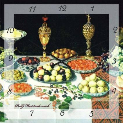 """Кухонные настенные часы """"Трапеза"""" (500мм) [Стекло, Открытые]"""