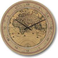 """Оригинальные настенные часы """"Старая карта мира"""" (300мм) бежевые бесшумные Pragmart-210-300 [Стекло]"""
