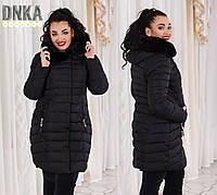 Черное  батальное пальто со змейкой на карманах.  Арт-9628/35