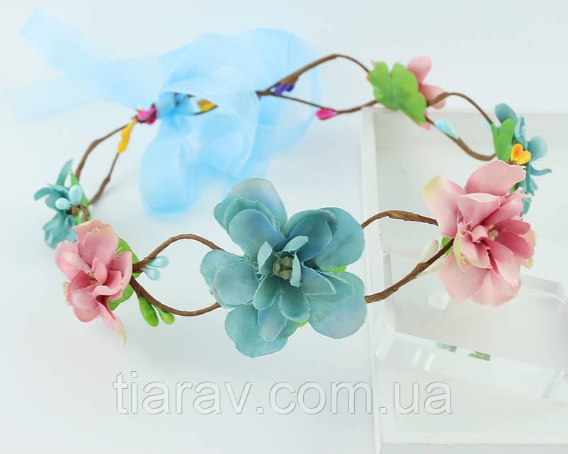 Венок на голову Веночек Алий голубой диадема для волос