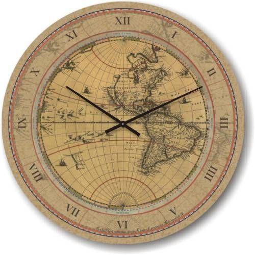 """Часы настенные большого размера """"Старая карта мира"""" (450мм) [Стекло, Открытые]"""