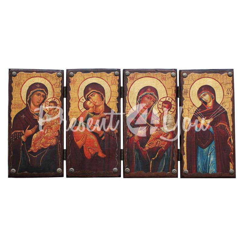 Икона раскладная (складень) Матерь Божья, 21х44 см.