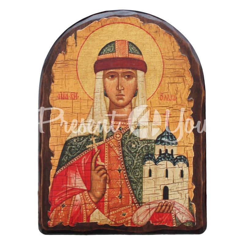 Деревянная икона Ольга Святая равноапостольная княгиня, 23x17 см.