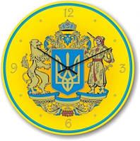 """Часы настенные """"Большой Герб Украины"""" (500мм) [Стекло, Открытые]"""