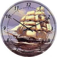 """Часы настенные """"Фрегат под парусами"""" (350мм) [Стекло, Открытые]"""