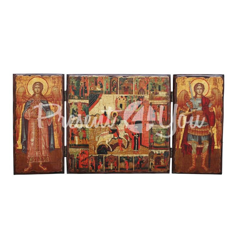 Икона тройная раскладная (складень), 21х44 см.