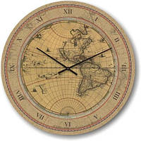 """Часы настенные """"Старая карта мира"""" (300мм) [Стекло, Открытые]"""