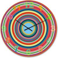 """Большие настенные часы """"Разноцветные круги"""" (500мм) [Стекло, Открытые]"""