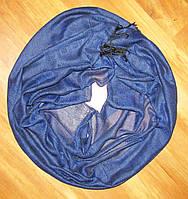 Шарф палантин с фактурым рисунком синий
