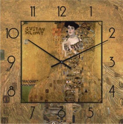"""Часы настенные большого размера """"Золотая Адель - Густав Климт"""" (500мм) [Стекло, Открытые]"""