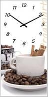 """Настенные часы на кухню """"Кофе"""" (225х450мм) [Стекло, Открытые]"""