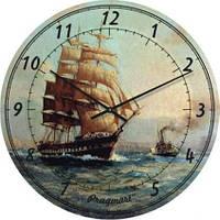 """Часы настенные """"Фрегат на волнах"""" (450мм) [Стекло, Открытые]"""