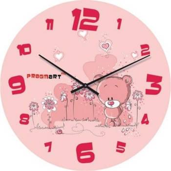 """Часы настенные детские """"Розовые мишки"""" (450мм) [Стекло, Открытые]"""