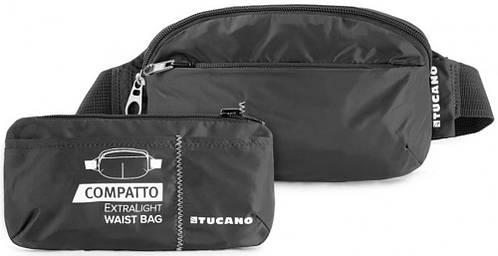 Поясная сумка-трансформер для парней, раскладная Tucano COMPATTO XL WAISTBAG PACKABLE BLACK (BPCOWB) черный