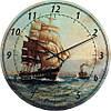 """Часы настенные """"Фрегат на волнах"""" (300мм) [Стекло, Открытые]"""
