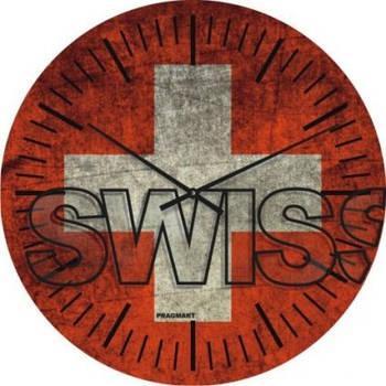 """Часы настенные большие """"Флаг Швейцарии"""" (450мм) [Стекло, Открытые]"""