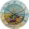 """Часы настенные большого размера """"Рыбацкие лодки"""" (450мм) [Стекло, Открытые]"""