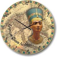 """Оригинальные настенные часы """"Египетская королева, Нифертити"""" (300мм) бежевые бесшумные Pragmart-213-300 [Стекло]"""