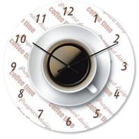 """Кухонные настенные часы """"Чашка кофе"""" (450мм) [Стекло, Открытые]"""