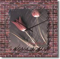 """Большие настенные часы """"Тюльпаны на стене"""" (500мм) [Стекло, Открытые]"""