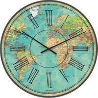 """Часы настенные большого размера """"Карта мира современная"""" (450мм) [Стекло, Открытые]"""