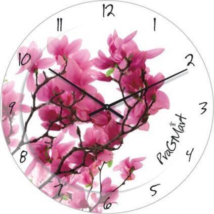 """Большие настенные часы """"Розовая сакура"""" (450мм) [Стекло, Открытые]"""