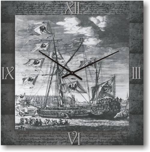 """Часы настенные """"Морской фрегат"""" (450мм) [Стекло, Открытые]"""