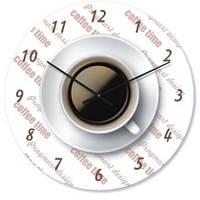 """Настенные часы на кухню """"Чашка кофе"""" (300мм) белые бесшумные Pragmart-247-300 [Стекло]"""