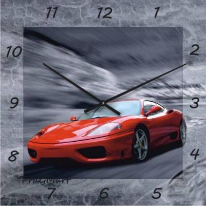 """Детские настенные часы """"Красная машина"""" (300мм) [Стекло, Открытые]"""