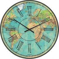 """Необычные настенные часы """"Карта мира современная, карта мира"""" (300мм)   PraGMart-231-300 [Стекло, Открытые]"""