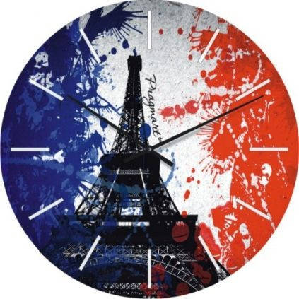 """Часы настенные большие """"Флаг Франции"""" (450мм) [Стекло, Открытые]"""