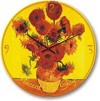 """Часы настенные """"Подсолнухи (желтый) - Винсент Ван Гог"""" (300мм) [Стекло, Открытые]"""