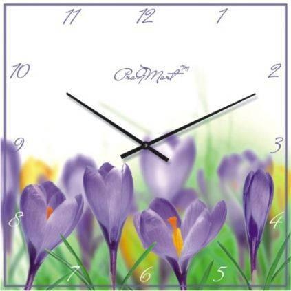 """Большие настенные часы """"Весенние крокусы"""" (500мм) [Стекло, Открытые]"""