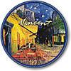 """Часы настенные большого размера """"Терраса ночного кафе - Винсент Ван Гог"""" (450мм) [Стекло, Открытые]"""