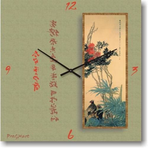 """Часы настенные """"Цветыи иероглифы"""" (350мм) [Стекло, Открытые]"""